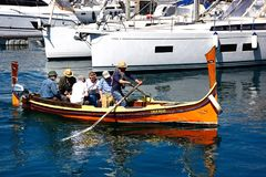 Maltese Dghajsa water taxi, Vittoriosa. Royalty Free Stock Photos
