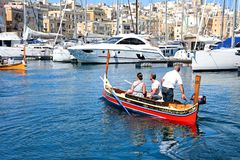 Maltese Dghajsa water taxi, Vittoriosa. Stock Photo