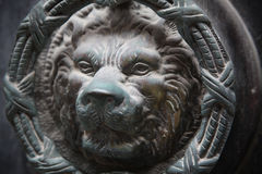 Maltese Door knocker. The Maltese have a tradition of ornate door knockers such as this lion's face on a door in Valletta the capital Stock Images