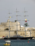 The Maltese Falcon. VALLETTA, MALTA - APR18- The world's most modern and advanced three mast yacht at the Grand Harbour April 18, 2010 Stock Photos