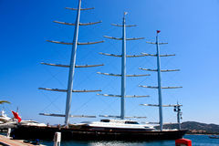 Maltese Falcon Clipper In Sardinia. Portisco, Sardinia, Italy, August 13, 2009 - The famous Maltese Falcon clipper in the port of Portisco Sardinia Royalty Free Stock Image