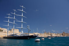 The Maltese Falcon moored in Malta. The yacht 'Maltese Falcon' moored in the Grand Harbour in Malta Royalty Free Stock Photos