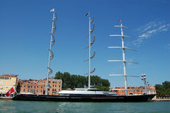 Maltese Falcon super yacht. A horizontal view of the magnificent Maltese Falcon super yacht moored in Venice, Italy. This clipper sailing yacht is owner by the Stock Images