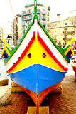 Maltese fishing boat. The bow of a Malyese fishing boat on dry dock at St. Julian's bay, Malta Royalty Free Stock Photos