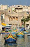 The maltese fishing village. Colorful boats Stock Photography
