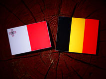 Maltese flag with Belgian flag on a tree stump isolated Royalty Free Stock Image