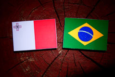 Maltese flag with Brazilian flag on a tree stump isolated. Maltese flag with Brazilian flag on a tree stump Royalty Free Stock Images