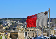 Maltese flag and cityscape Stock Photography