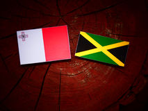 Maltese flag with Jamaican flag on a tree stump. Maltese flag with Jamaican flag on a tree stump Stock Image