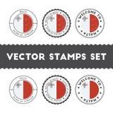 Maltese flag rubber stamps set. Stock Images