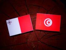 Maltese flag with Tunisian flag on a tree stump isolated. Maltese flag with Tunisian flag on a tree stump Royalty Free Stock Image