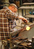 Maltese glass worker at work Stock Photo