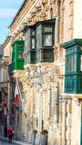 Maltese green balconies, Valletta. Malta - 15 Jan 2016: Maltese green balconies, Valletta Royalty Free Stock Photo