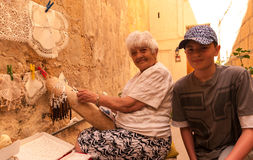 Maltese handmade lace. Traditional lace making in Gozo ,Malta Stock Photos