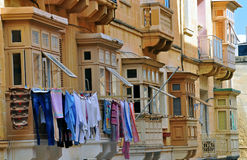 Maltese houses. Maltese traditional houses in Valletta Royalty Free Stock Images