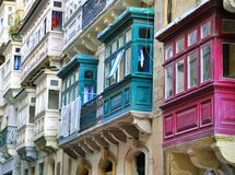 Maltese houses. Multicolor houses of Valletta, Malta Stock Photo