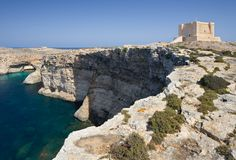 Comino Island, Malta. The maltese island Comino with the great Comino Tower Royalty Free Stock Images