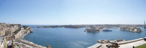 Maltese islands panorama - view of Senglea, Birgu and Rinela. Maltese islands - view of the three cities :Senglea, Birgu, Cospicua and Rinela bay Royalty Free Stock Photos