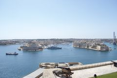 Maltese islands - view from upper  Baraka Gardens. Maltese islands - view of the three cities :Senglea, Birgu, Cospicua and Rinela bay Royalty Free Stock Photography