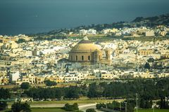 Maltese Landscape Aerial View of Malta Mediterranean Panorama Exotic Architecture. Sky View Royalty Free Stock Image