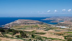 Maltese landscape, Malta, Landscape Countryside Scenery In Malta. Cultivated fields on cloudy day in Malta,panoramic view,maltese nature summer in Malta Stock Images