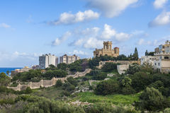 Maltese landscape with old and new architecture. Gardens and trees, natural landscapes Royalty Free Stock Image