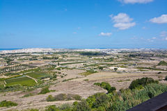 Maltese landscape scenery. From the highest point towards the Mediterranean ocean and coast on a sunny day in September 14, 2015 in Mdina, Malta Royalty Free Stock Photos