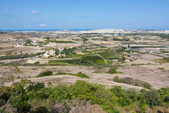Maltese landscape scenery. From the highest point towards the Mediterranean ocean and coast on a sunny day in September 14, 2015 in Mdina, Malta Stock Photography