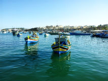 Maltese Luzzu fisherboat VIEW. Malta - Traditional colorful maltese Luzzu fisherboat Stock Images