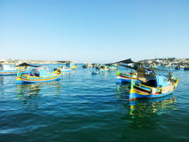 Maltese Luzzu fisherboat VIEW. Malta - Traditional colorful maltese Luzzu fisherboat Royalty Free Stock Photos