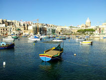 Maltese Luzzu fisherboat VIEW. Malta - Traditional colorful maltese Luzzu fisherboat Royalty Free Stock Images