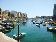 Maltese Luzzu fisherboat VIEW. Malta - Traditional colorful maltese Luzzu fisherboat Stock Photo
