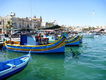 Maltese Luzzu fisherboat VIEW. Malta - Traditional colorful maltese Luzzu fisherboat Stock Photos