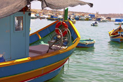 Maltese luzzu, traditional fishing boat from Malta. Royalty Free Stock Photography
