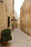 Maltese narrow street Mdina, Malta Stock Photos