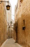 Maltese narrow street Mdina, Malta Royalty Free Stock Photos