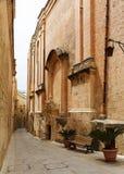 Maltese narrow street Mdina, Malta. Traditional narrow street in Malta. Maltese architecture in Mdina, Malta Stock Photo