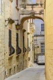 Maltese narrow street in Mdina. Royalty Free Stock Photography