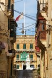 Maltese narrow street Vittoriosa Square Royalty Free Stock Image