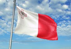 Malta flag waving with sky on background realistic 3d illustration. Maltese national flag realistic waving blue sky background 3d illustration Stock Photography