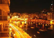 Maltese night landscape. Spinola bay, St Julian's in the night,  Malta Stock Images