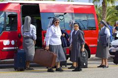 Maltese nuns. Nuns arriving on bus, Malta Royalty Free Stock Images