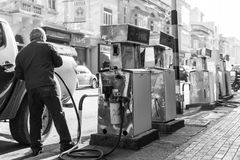 Maltese petrol station in a residential street Stock Images