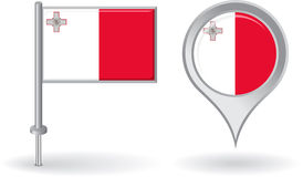 Maltese pin icon and map pointer flag. Vector Royalty Free Stock Photo