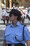 Maltese Police Officer. Malta, Valletta - July 31, 2015: Maltese policewoman on duty in front of the Grand Masters Palace Stock Photo