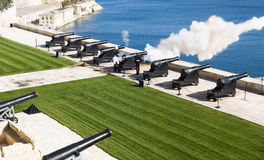 Maltese saluting battery at noon. Maltese military saluting battery daily canon fire Stock Photos