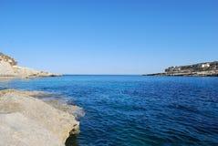 Maltese Sea. Ocean seaside. Blue water. Clear sea. Rocky Cliff side Stock Photography