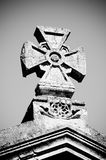 Maltese stone cross. In black and white stock photography