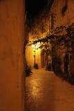 Maltese street in the evening. A quiet Mediterranean alley at Night Stock Photos