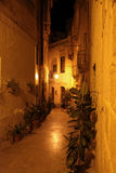 Maltese street at night. Walking through the backstreets of Vittoriosa at night Stock Photos